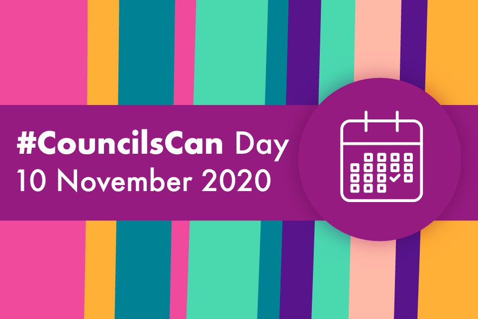 colourful vertical stripes crossed by a horizontal purple stripe with the text #CouncilsCan Day 10 November 2020