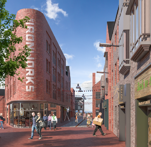 An indicative image of the new development. The building will stand on the site of the old Victorian Ironworks that once existed in North Street'.