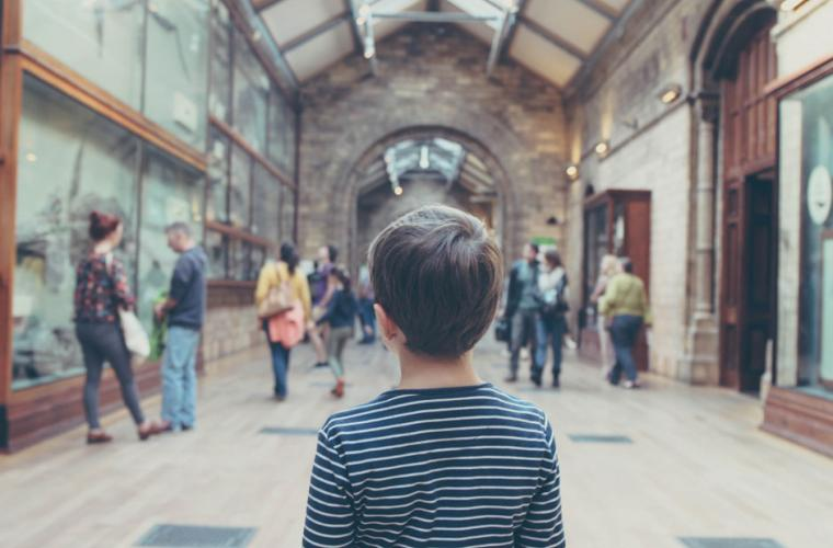 photo of a boy in a museum