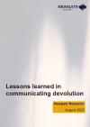 The pdf cover of 'Lessons learned in communicating devolution'