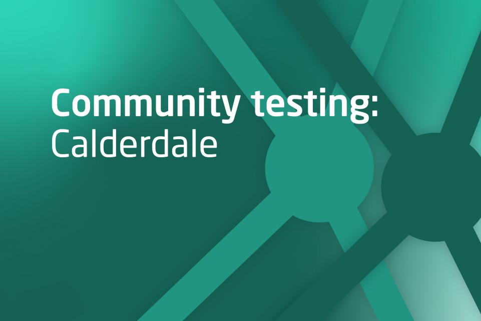 Decorative green image with text community testing Calderdale