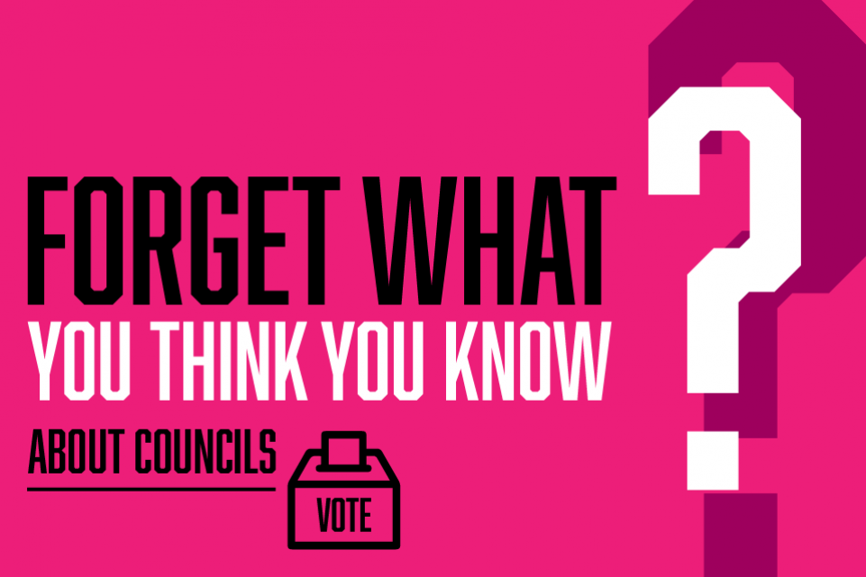 Graphic image with text Forget What You Think You Know About Councils, with a ballot box icon