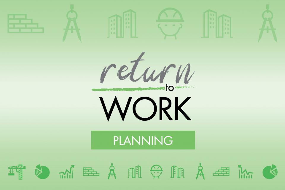 Green return to work in planning logo