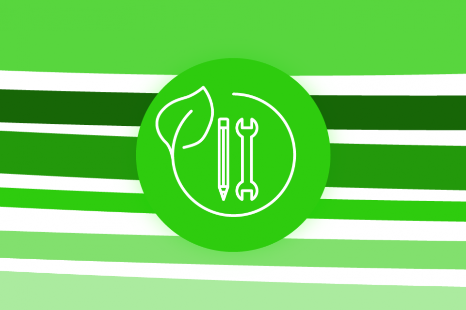 Re-thinking local: skills and the green economy - bright green stripes on a white background with a green icon of a pen and a wrench in the foreground
