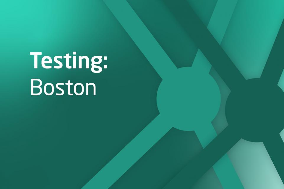 Decorative green asset with text testing: Boston
