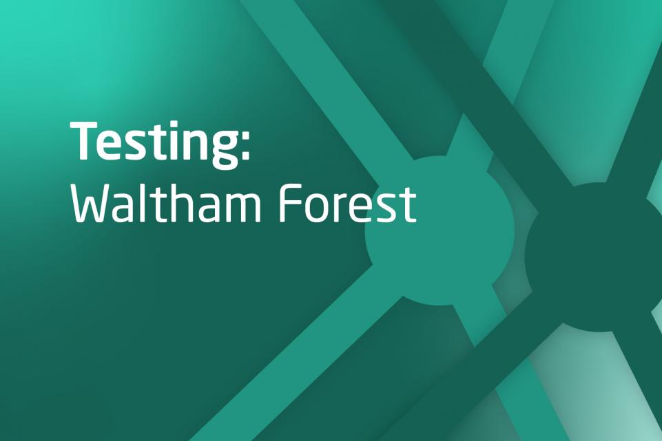 Decorative green asset with text testing: Waltham Forest