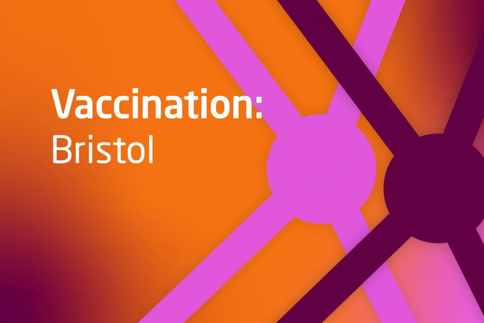 Graphic with COVID symbols and text vaccination Bristol