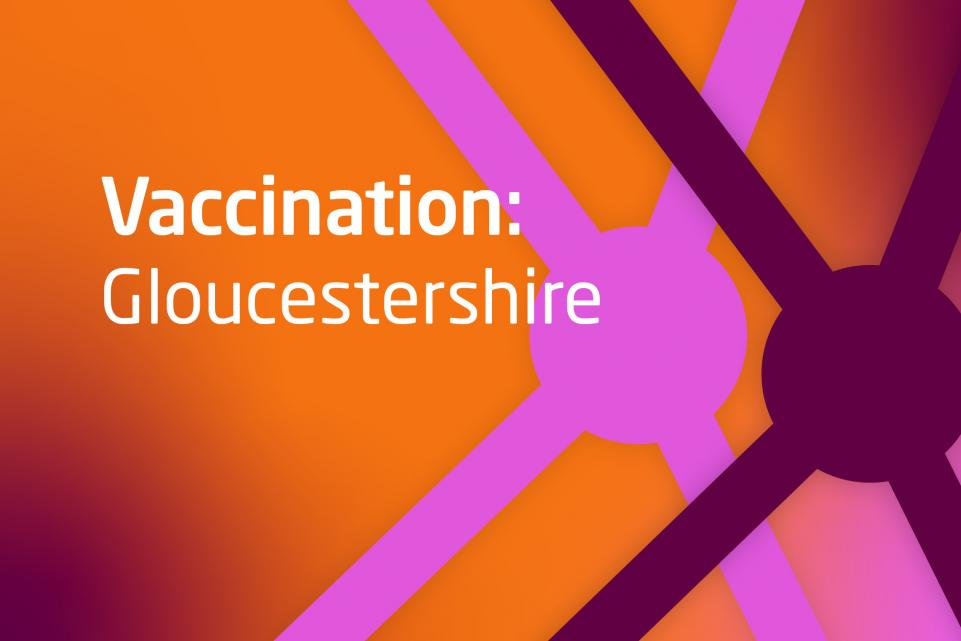 Graphic with COVID design and text vaccination Gloucestershire