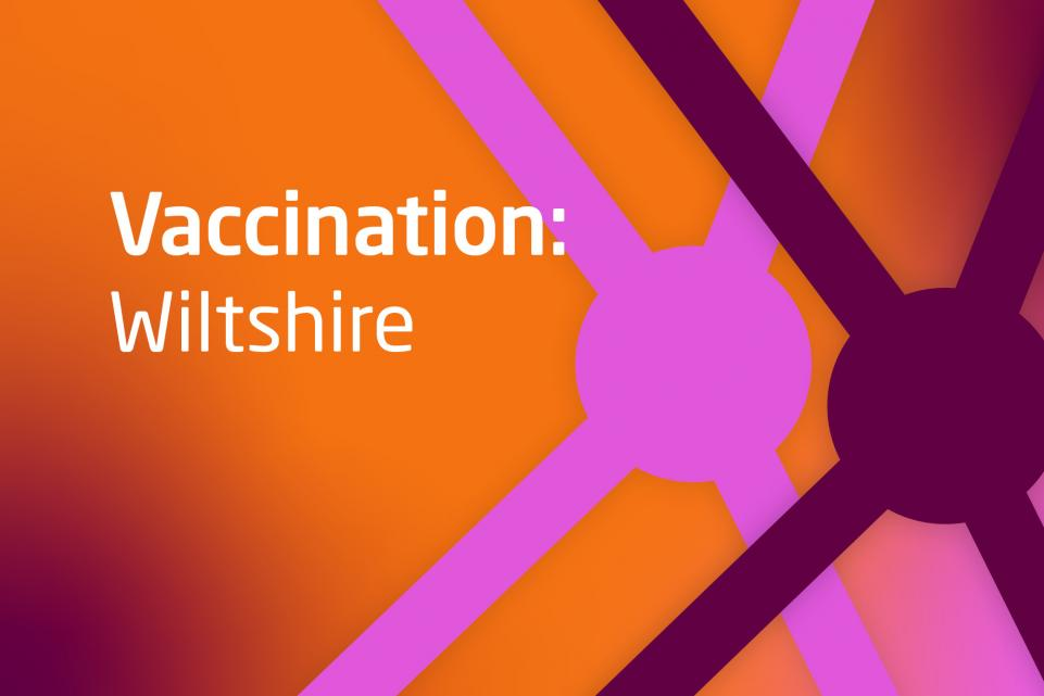Graphic with COVID design and text vaccination Wiltshire