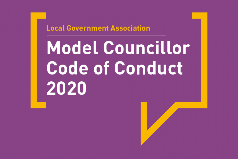 LGA Model Councillor Code of Conduct 2020 wording in white with magenta background