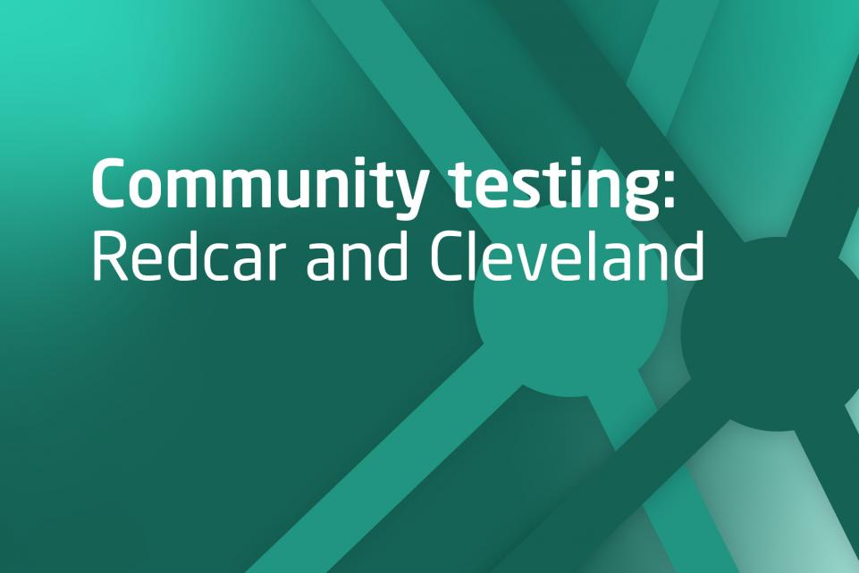 Decorative image with text community testing in Redcar and Cleveland
