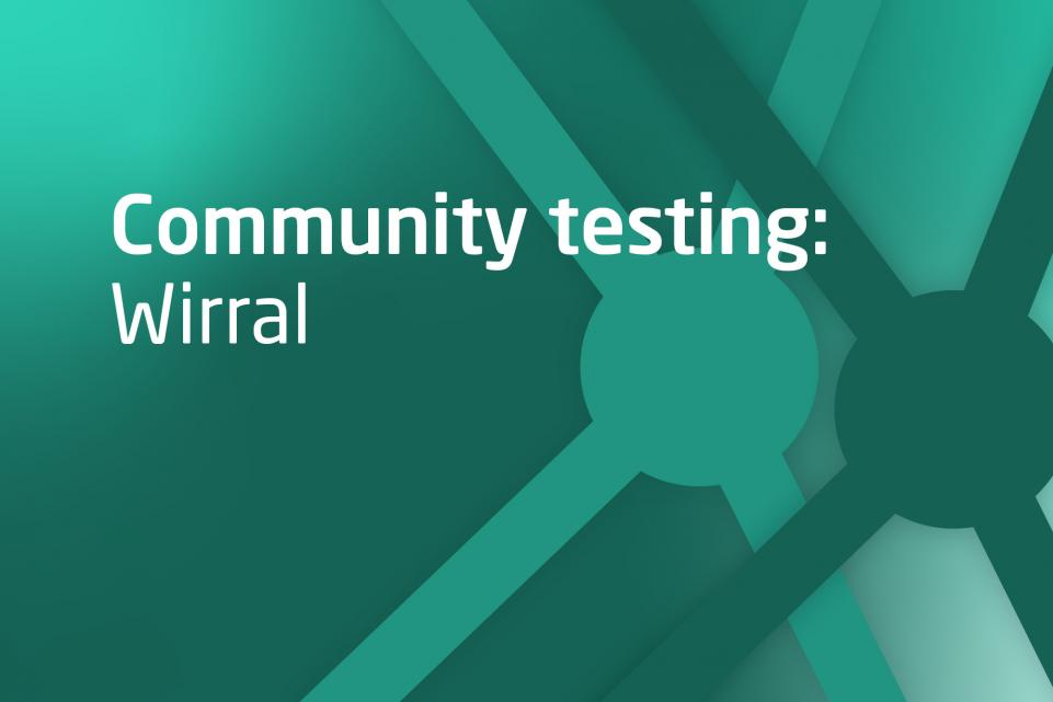 Decorative image with text Community testing Wirral