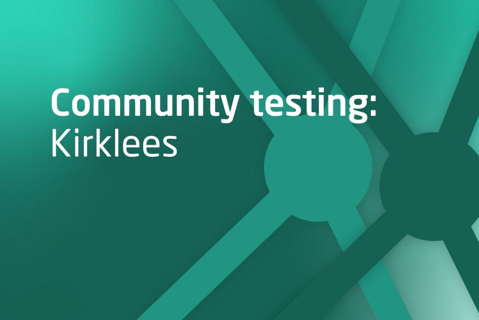 Decorative image with test Community testing Kirklees