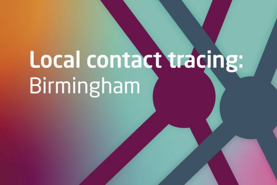 Text: Local contact tracing: Birmingham