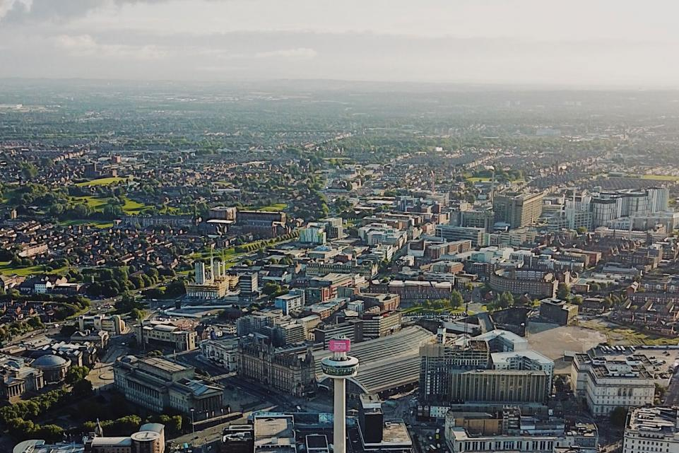 Aerial view of Liverpool City Cenre