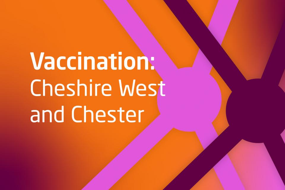 Wording Vaccination case study Cheshire West and Cheshire, orange back ground