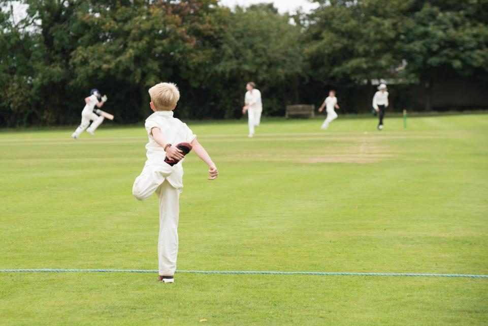 Children playing cricket